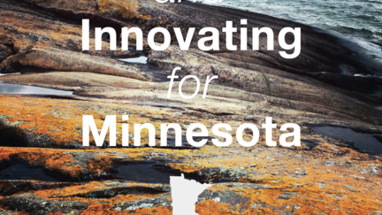 The words Innovating for Minnesota over graphic of rocks