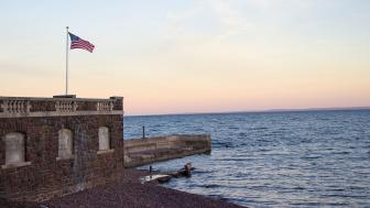 Glensheen's Pier with American Flag