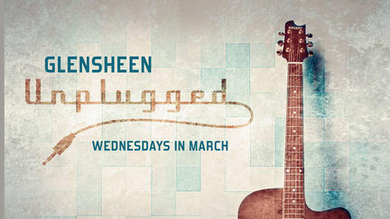 Guitar with the words: Glensheen Unplugged, Wednesdays in March