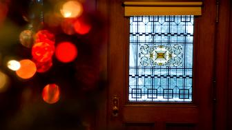 Interior art glass door at Glensheen