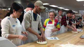 The French culture honors class kneads dough.