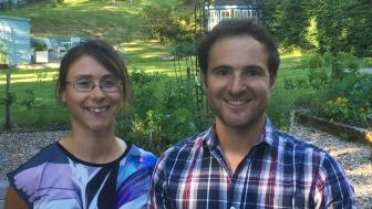 Co-Authors Nicola Hale and Gideon Mailer standing in garden