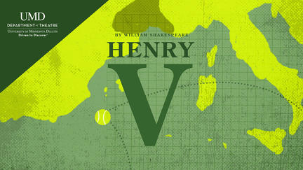 "UMD production of ""Henry V"" graphic"