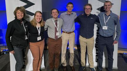 UMD Team Advisor Tracy Bibelnieks with students Kaylee Andersen, Daniel Crist, Christopher Kuehn, Noah Lahr and Brian Paulsen.