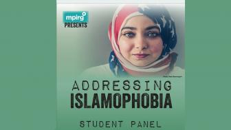 Poster for Addressing Islamophobia featuring a woman wearing a hijab