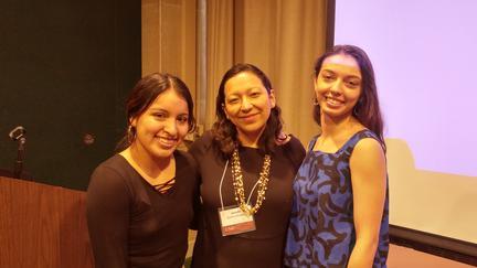 UMD World Languages & Cultures faculty Jennifer Gómez Menjívar and Carol Wallace with student