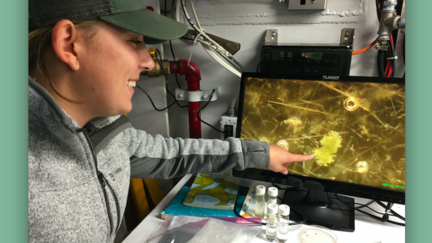 UMD LLO fresh water researcher Kaitlin Reinl views an enlargement of a Blue-green Algal bloom
