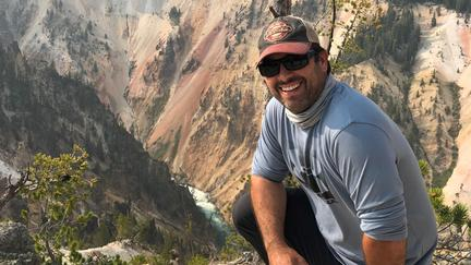 NRRI Engineering and Maintenance Lead Jeff Kinkel backpacking at Yellowstone Canyon.