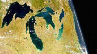 The Great Lakes as seen from space.