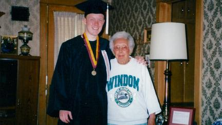 UMD alumnus James Lehnhoff with friend Betty Jacobson