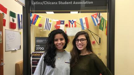 UMD student Leslie Fierros and Tanya Granville in the Multicultural Center