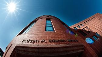 A dramatic view, looking up, of the Kathryn A. Martin Library.