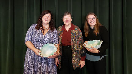 UMD 2019 Linda Larson Woman of the Year recipients: Becky Nelson and Lizzie Easter with Linda Larson