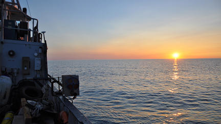 Sunset on Lake Superior aboard the Research Vessel Blue Heron