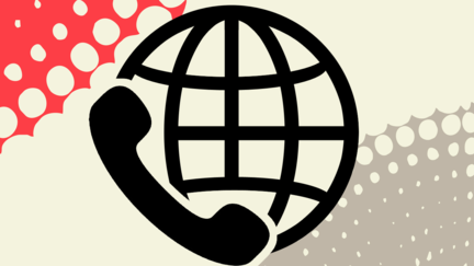 Line Drawing of globe with black telephone receiver