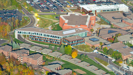 UMD's LSBE building - aerial shot