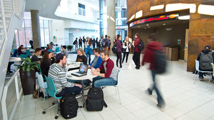 UMD's LSBE atrium filled with busy students