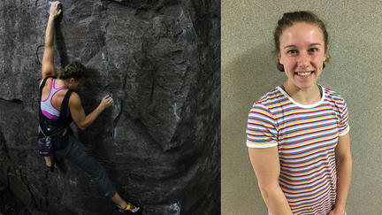 UMD student Megan Rowe, climbing a wall and standing looking at the camera
