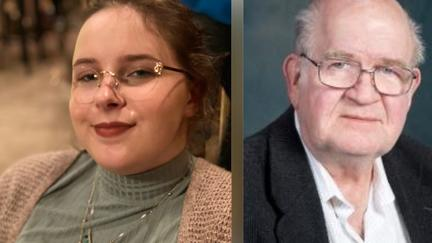 UMD CLA student  Ellie Mercil (left) with image of Ken Risdon (right)