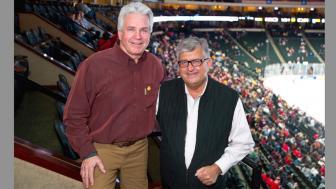 Former Bulldog hockey players Mike Newton and Merv Kiryluik
