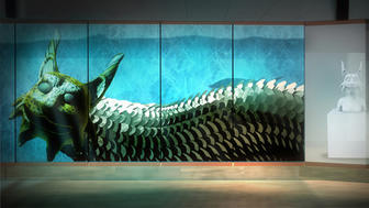 UMD's Tweed Museum of Art: Mishu Bizhiw Awakens (green dragon on blue background)
