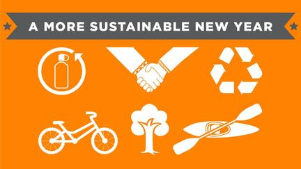 Graphic images of water bottle, hands, recycling symbol, bike, tree, and kayak.