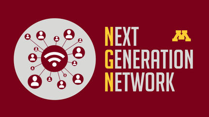 "The words Next Generation Network  with gold block ""M"""