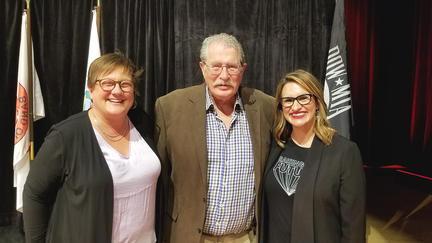 UMD CEHSP Dean Jill Pinkney Pastrana, Dr. David Beaulieu, and Lt. Governor Peggy Flanagan at the NIEA Convention on October 9. Photo courtesy of Theresa Beaulieu.