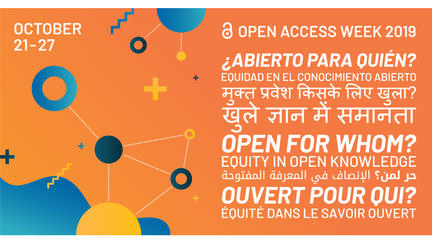 October 21-27 on orange background. The words Open Access week and then the words Open for Whom? in various languages
