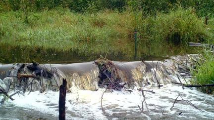 Water rushing over a dam
