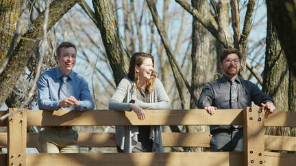 UMD students Bryant McLelland, Kendra Dean, and Kaleb Montgomery in Keene Creek Park