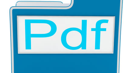 File shape with the word PDF