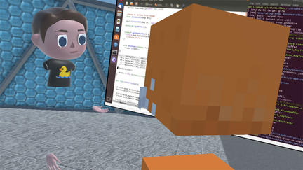 UMD Computer Science virtual classroom with animated man avatar