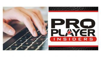 hand typing on a keyboard. Logo for proplayer.