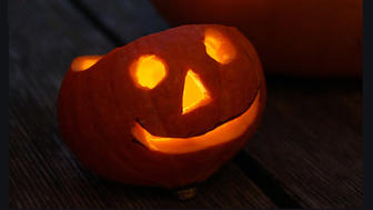 """Boo M D"" Smiling Pumpkin"