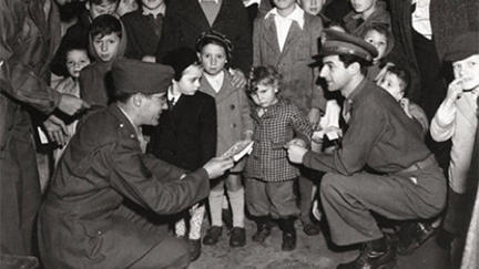 Black and White photo of American GIs with Holocaust refugees in Shanghai
