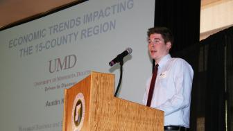 UMD student presenting at Regional Economic Indicators Forum