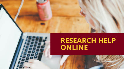 """Young woman looking at laptop with words """"Research help online""""."""