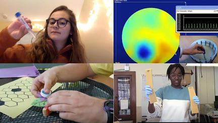 Four screens with people doing a science activity in each