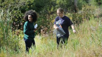 Two students search for seeds.