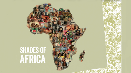 Map of Africa made up of many faces with text Shades of Africa