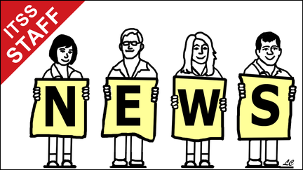 Drawing of people holding cards that spell out NEWS