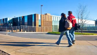 Students walk by the Civil Engineering Building
