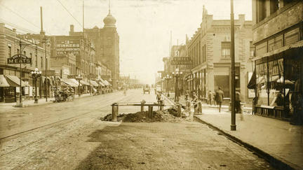 "Sepia colored photo of Superior Street in the early 20th century. From Glensheen's ""Reporting Duluth"" exhibit"