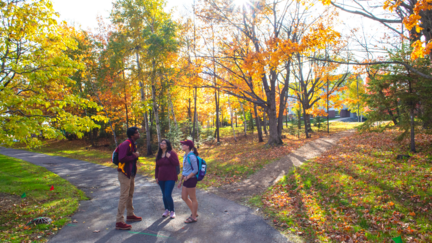 UMD students outside on campus in fall