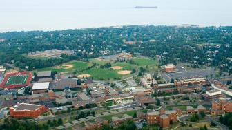 Ariel shot of UMD's campus and Lake Superior