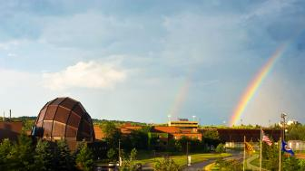 Webber Music Hall and a rainbow