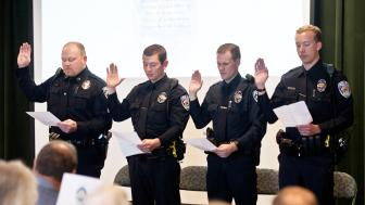 2018 UMDPD officers being sworn in
