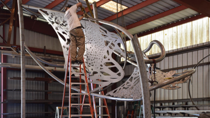 Polytropos in the studio, UMD's new large public art sculpture
