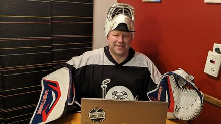 NRRI researcher Victor Krause in hockey uniform
